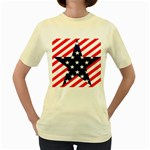 Patriotic Usa Stars Stripes Red Women s Yellow T-Shirt