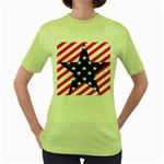 Patriotic Usa Stars Stripes Red Women s Green T-Shirt