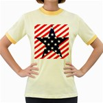 Patriotic Usa Stars Stripes Red Women s Fitted Ringer T-Shirts
