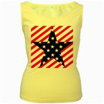 Patriotic Usa Stars Stripes Red Women s Yellow Tank Top