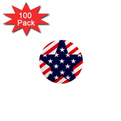 Patriotic Usa Stars Stripes Red 1  Mini Magnets (100 Pack)  by Celenk