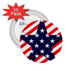 Patriotic Usa Stars Stripes Red 2 25  Buttons (10 Pack)  by Celenk