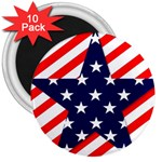 Patriotic Usa Stars Stripes Red 3  Magnets (10 pack)