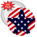 Patriotic Usa Stars Stripes Red 3  Buttons (100 pack)