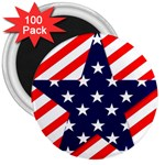 Patriotic Usa Stars Stripes Red 3  Magnets (100 pack)