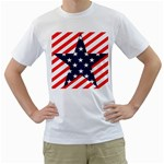 Patriotic Usa Stars Stripes Red Men s T-Shirt (White) (Two Sided)