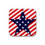 Patriotic Usa Stars Stripes Red Rubber Square Coaster (4 pack)