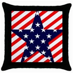 Patriotic Usa Stars Stripes Red Throw Pillow Case (Black)