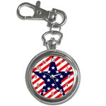 Patriotic Usa Stars Stripes Red Key Chain Watches