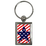 Patriotic Usa Stars Stripes Red Key Chains (Rectangle)