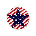 Patriotic Usa Stars Stripes Red Rubber Coaster (Round)