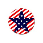 Patriotic Usa Stars Stripes Red Magnet 3  (Round)
