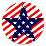 Patriotic Usa Stars Stripes Red Magnet 5  (Round)