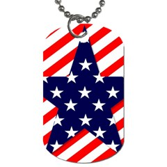 Patriotic Usa Stars Stripes Red Dog Tag (one Side) by Celenk