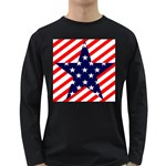 Patriotic Usa Stars Stripes Red Long Sleeve Dark T-Shirts
