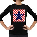 Patriotic Usa Stars Stripes Red Women s Long Sleeve Dark T-Shirts