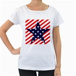 Patriotic Usa Stars Stripes Red Women s Loose-Fit T-Shirt (White)