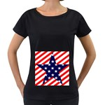 Patriotic Usa Stars Stripes Red Women s Loose-Fit T-Shirt (Black)