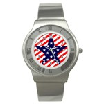 Patriotic Usa Stars Stripes Red Stainless Steel Watch