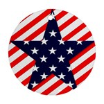 Patriotic Usa Stars Stripes Red Round Ornament (Two Sides)