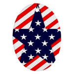 Patriotic Usa Stars Stripes Red Oval Ornament (Two Sides)