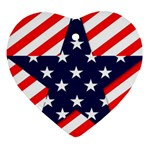 Patriotic Usa Stars Stripes Red Heart Ornament (Two Sides)