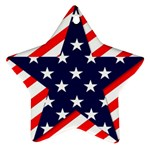 Patriotic Usa Stars Stripes Red Star Ornament (Two Sides)