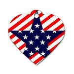 Patriotic Usa Stars Stripes Red Dog Tag Heart (One Side)