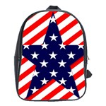 Patriotic Usa Stars Stripes Red School Bag (Large)
