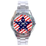 Patriotic Usa Stars Stripes Red Stainless Steel Analogue Watch
