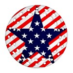 Patriotic Usa Stars Stripes Red Round Filigree Ornament (Two Sides)