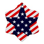 Patriotic Usa Stars Stripes Red Snowflake Ornament (Two Sides)