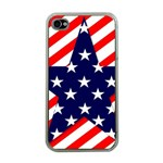 Patriotic Usa Stars Stripes Red Apple iPhone 4 Case (Clear)