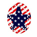 Patriotic Usa Stars Stripes Red Oval Filigree Ornament (Two Sides)