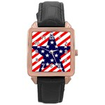 Patriotic Usa Stars Stripes Red Rose Gold Leather Watch
