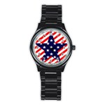 Patriotic Usa Stars Stripes Red Stainless Steel Round Watch