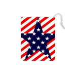 Patriotic Usa Stars Stripes Red Drawstring Pouches (Small)