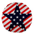 Patriotic Usa Stars Stripes Red Large 18  Premium Flano Round Cushions