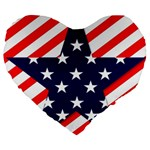 Patriotic Usa Stars Stripes Red Large 19  Premium Flano Heart Shape Cushions
