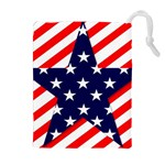 Patriotic Usa Stars Stripes Red Drawstring Pouches (Extra Large)