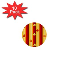 Autumn Fall Leaves Vertical 1  Mini Buttons (10 Pack)  by Celenk