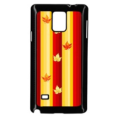 Autumn Fall Leaves Vertical Samsung Galaxy Note 4 Case (black) by Celenk