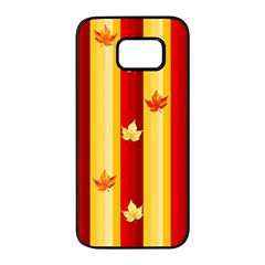 Autumn Fall Leaves Vertical Samsung Galaxy S7 Edge Black Seamless Case by Celenk