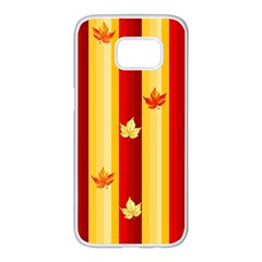 Autumn Fall Leaves Vertical Samsung Galaxy S7 Edge White Seamless Case by Celenk