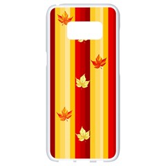 Autumn Fall Leaves Vertical Samsung Galaxy S8 White Seamless Case by Celenk