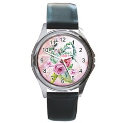 Flowers And Leaves In Soft Purple Colors Round Metal Watch by FantasyWorld7