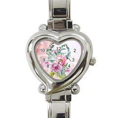 Flowers And Leaves In Soft Purple Colors Heart Italian Charm Watch by FantasyWorld7