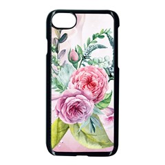 Flowers And Leaves In Soft Purple Colors Apple Iphone 7 Seamless Case (black) by FantasyWorld7