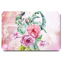 Flowers And Leaves In Soft Purple Colors Large Doormat  by FantasyWorld7