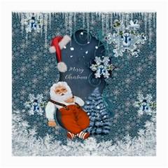 Funny Santa Claus With Snowman Medium Glasses Cloth by FantasyWorld7